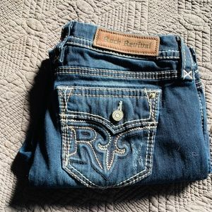 Dark denim rock revival ankle skinny's size 30